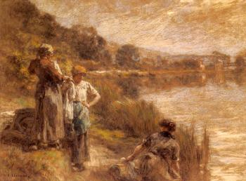 Leon Augustin Lhermitte : Washerwomen by the Banks of the Marne II