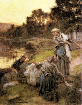 Leon Augustin Lhermitte : Washerwomen by the Banks of the Marne III