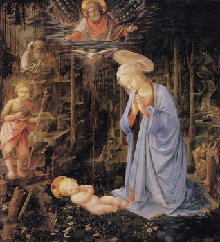 The adoration with the infant Baptist and St Bernard