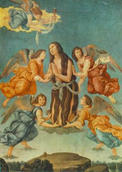 Lorenzo Di Credi : An Angel Brings the Holy Communion to Mary Magdalen