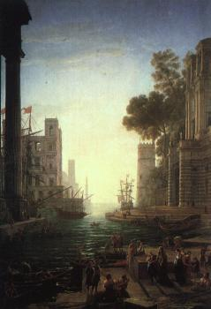 Claude Lorrain : Embarkation of St Paula Romana at Ostia