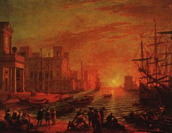 Claude Lorrain : Sea Port at Sunset
