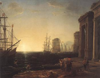 Claude Lorrain : Harbour Scene at Sunset