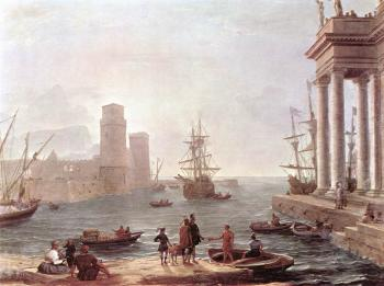 Claude Lorrain : Port Scene with the Departure of Ulysses from the Land of th