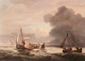 Thomas Luny : Dutch Barges In Open Seas