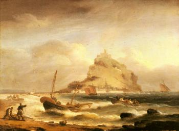 Thomas Luny : Fishermen rowing in, before St Michael's Mount