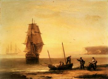 Thomas Luny : Fishermen unloading the catch