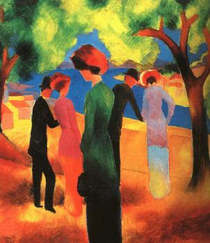 August Macke : Woman in a Green Jacket