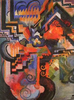 August Macke : Colored composition (Hommage to Johann Sebastian Bachh)