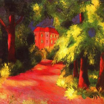August Macke : Red house in park
