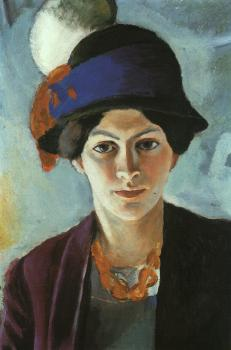 August Macke : Portrait of the artist's wife with a hat