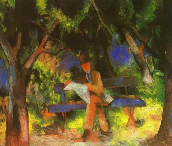 August Macke : Reading man in park