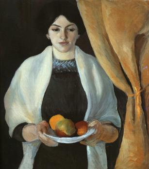 August Macke : Portrait with apples