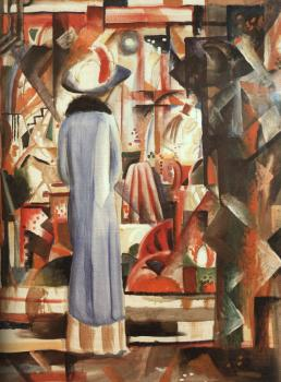 August Macke : Woman in front of a large illuminated window