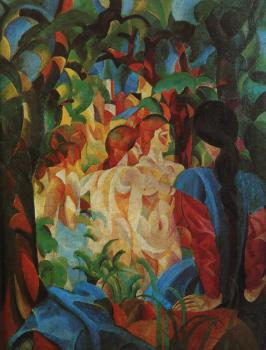 August Macke : Bathing girls with town in the backgraund