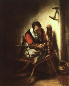 Nicolaes Maes : A Woman Spinning