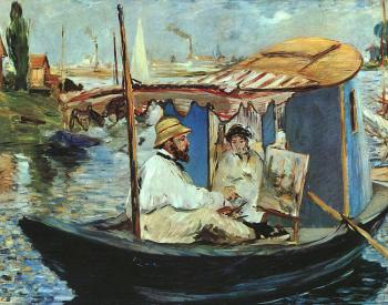 Manet, Edouard : Claude Monet working on his boat in Argenteuil