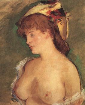 Edouard Manet : Blonde Woman with Bare Breasts