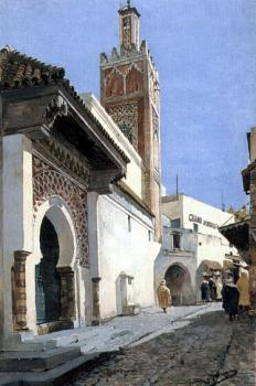 Manuel Garcia Y Rodriguez : A Street Scene With a Mosque Tangier