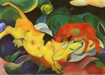 Franz Marc : Cows, Yellow-Red-Green
