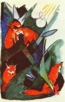 Franz Marc : Four foxes