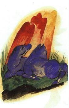 Franz Marc : Two Blue Horses in front of a Red Roc