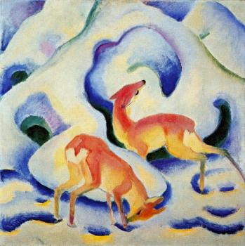 Franz Marc : Deer in the Snow