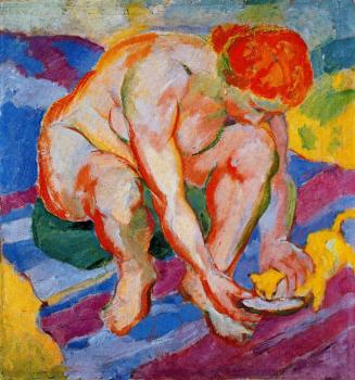 Franz Marc : Nude with Cat