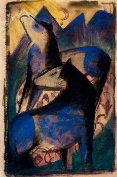 Franz Marc : Two Blue Horses