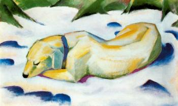 Franz Marc : Dog Lying in the Snow