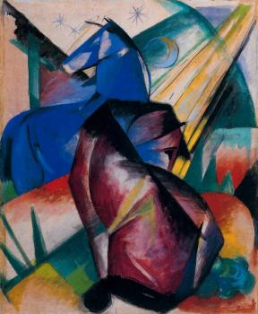 Franz Marc : Two Horses, Red and Blue