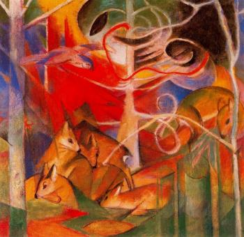 Franz Marc : Deer in the Forest