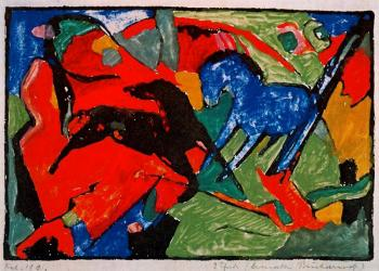 Franz Marc : Two Horses