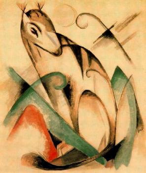 Franz Marc : Seated Mythical Animal