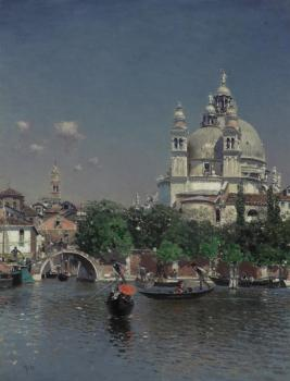 Martin Rico Y Ortega : Venetian Lagoon Near the Church of Santa Maria della Salute