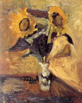 Henri Emile Benoit Matisse : vase with sunflowers