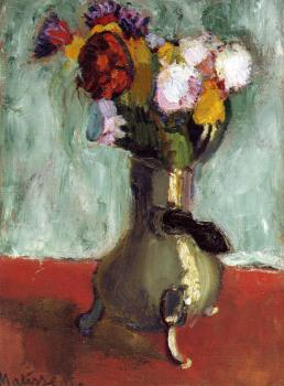 Henri Emile Benoit Matisse : bouquet of flowers in a chocolate pot