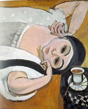 Henri Emile Benoit Matisse : reclining laurette with a cup of coffee