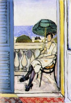 Henri Emile Benoit Matisse : woman with a green parasol on a balcony