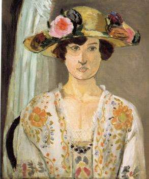 Henri Emile Benoit Matisse : woman in a flowered hat