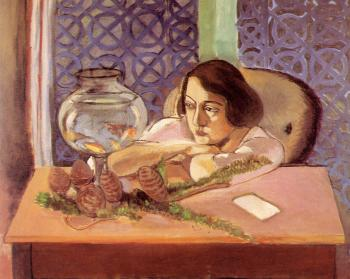 Henri Emile Benoit Matisse : woman before an aquarium