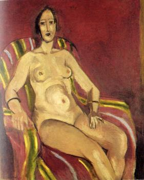 Henri Emile Benoit Matisse : seated nude on a red background