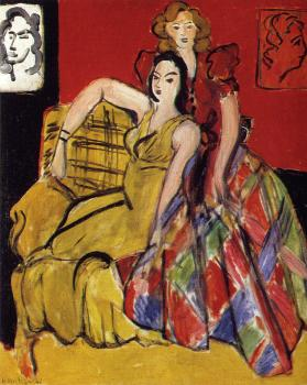 Henri Emile Benoit Matisse : two girls the yellow and plaid skirt