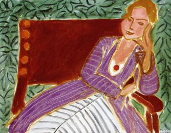 Henri Emile Benoit Matisse : seated young woman in a persian dress