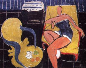 Henri Emile Benoit Matisse : dancer and rocaille armchair on a black background