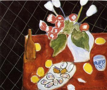 Henri Emile Benoit Matisse : tulips and oysters on a black background