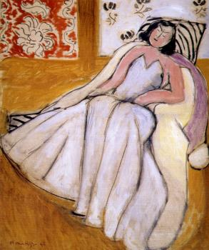 Henri Emile Benoit Matisse : young woman with white fur coat