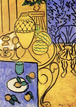 Henri Emile Benoit Matisse : interior in yellow and blue