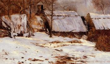 Maxime Maufra : Cottages in the Snow