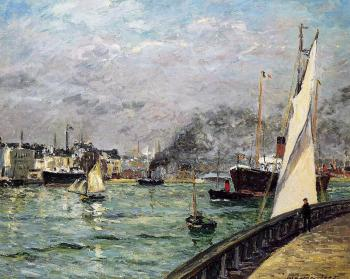 Maxime Maufra : Departure of a Cargo Ship, Le Havre